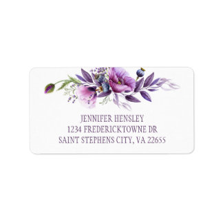 Violett purpurfärgad lavendelvildblommaadress | adressetikett
