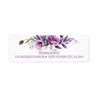 Violett purpurfärgad lavendelvildblommaretur returadress etikett