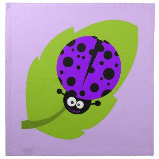 Violett purpurfärgad nyckelpiga tygservett
