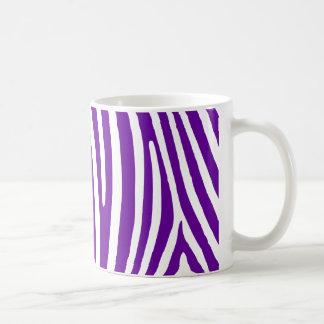 Violett purpurfärgad zebra ränder vit mugg
