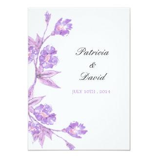 Violetta blom- vattenfärger som gifta sig 12,7 x 17,8 cm inbjudningskort