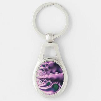 Violetta hoppande over stenar ovalt silverfärgad nyckelring