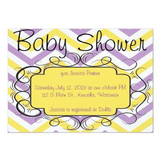 Violetta och gula sparrebaby showerinbjudningar 12,7 x 17,8 cm inbjudningskort