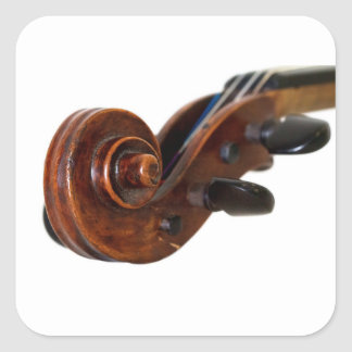 Violin Scroll Fyrkantigt Klistermärke