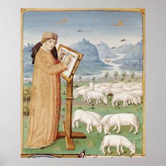 Virgil handstil i ett fält av får och getter poster