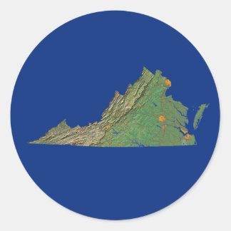 Virginia kartaklistermärke runt klistermärke