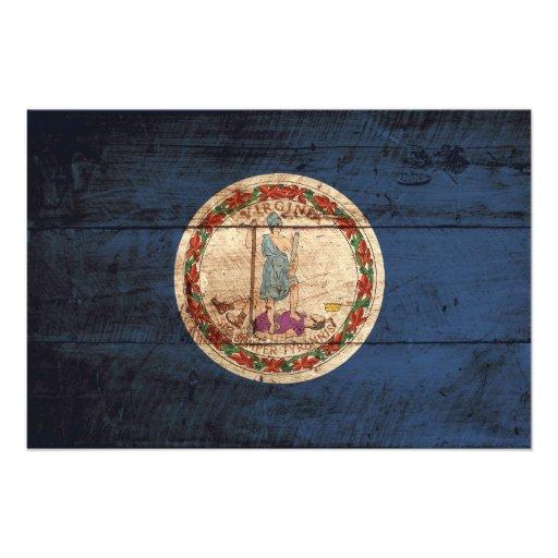 Virginia statlig flagga på gammalt Wood korn Fotokonst