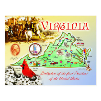 Virginia statlig karta vykort