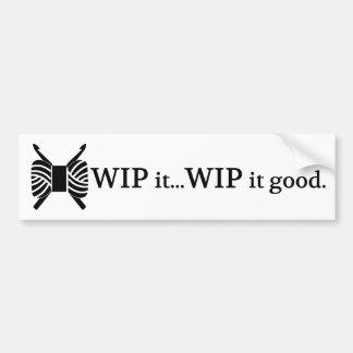 Virkning WIP det bra garnhantverk Bildekal