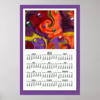 Virvla runt affischen för kalender för Spheresabst Affisch