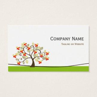 Virvla runt det nyckfulla träd - enkel grön snyggt visitkort