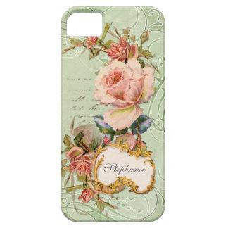 Virvlar runt barocka rosa rosblommor för vintage iPhone 5 cover