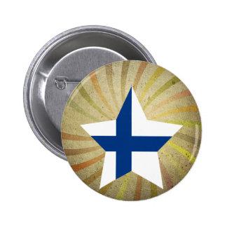 Virvlar runt den finlandssvenska flagga för standard knapp rund 5.7 cm