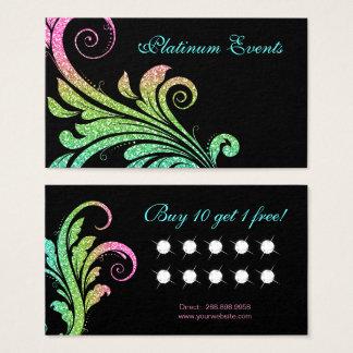Virvlar runt det eleganta glitterlöv för bröllop visitkort