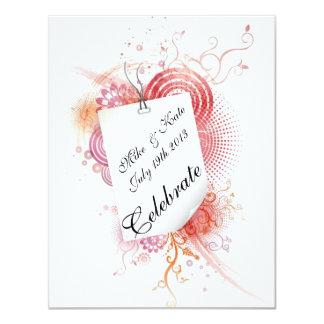 Virvlar runt och snöre med kärlek 10,8 x 14 cm inbjudningskort