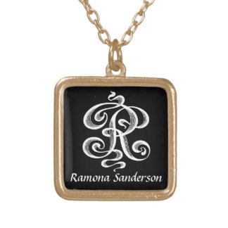 Virvlar runt personlig för Monogram för brev R Guldpläterat Halsband