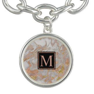 Virvlar runt rosa guld- marmor för den moderna armband