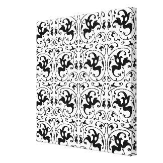 Virvlar runt svart vit för vintage canvastryck