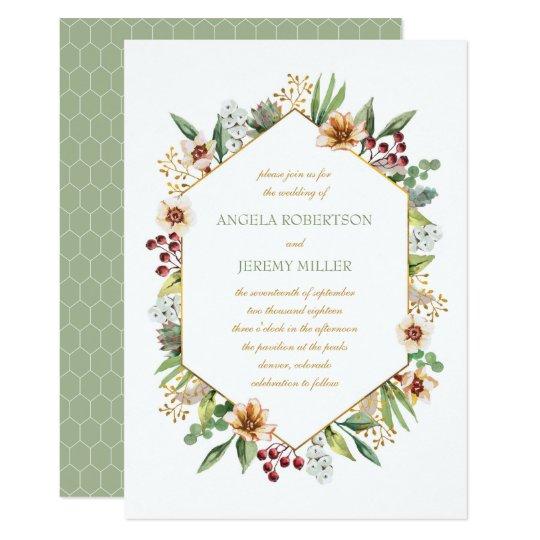 Vis man för bröllop för höstvildblommavattenfärg 12,7 x 17,8 cm inbjudningskort