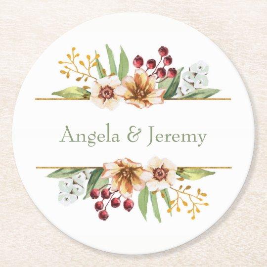 Vis man för bröllop för höstvildblommavattenfärg underlägg papper rund