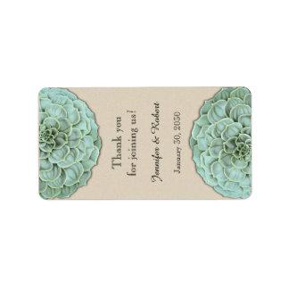 Vis suckulent etikett för bröllopkantbalsam adressetikett