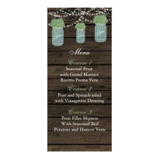 visa kort för meny för bröllop för blommamasonburk