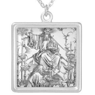 Visionen av de sju ljusstakarna silverpläterat halsband