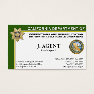 Visitkort för Paroleagent
