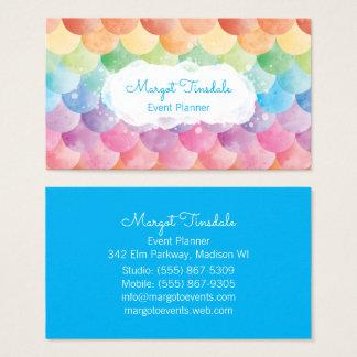 Visitkort för regnbågesjöjungfruvattenfärg