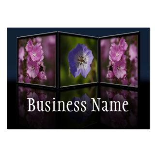 Visitkort för rosa- och blåttblommaTryptych ram