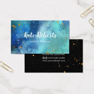 Visitkort för splats för blåttmarinvattenfärg