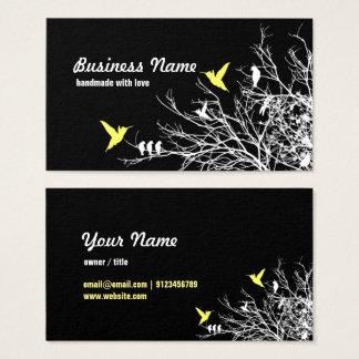 visitkort - trädgrenar och två fåglar