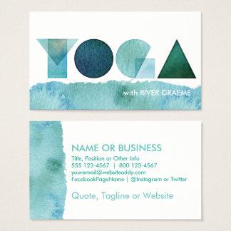 Visitkortar för grönt för YOGAvattenfärgblått Visitkort
