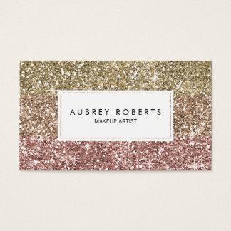 Visitkortar för Ombre rosa rosa guld- glitter