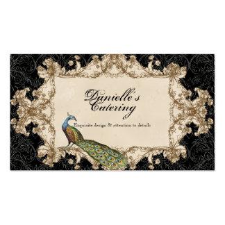 Visitkortar - svart vintagepåfågel & etsningar visitkort