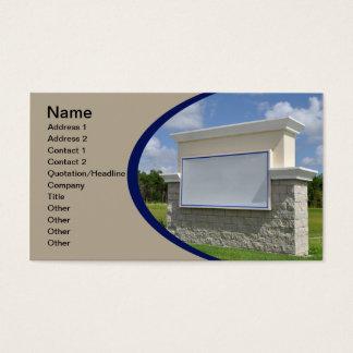 visitkorten med en tom sten undertecknar visitkort