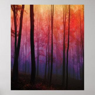 Viska skogen, landskap trädskogen konst poster