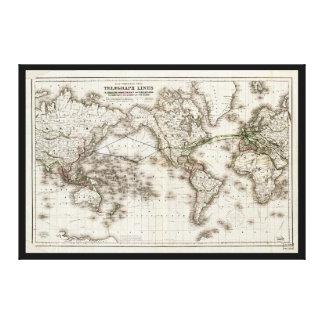 Visningen för vintagevärldskarta telegraferar canvastryck