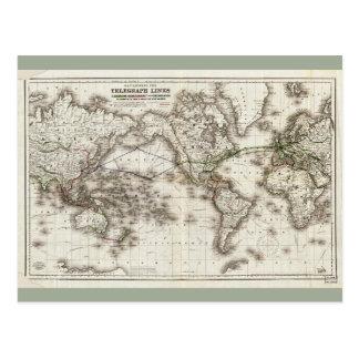 Visningen för vintagevärldskarta telegraferar vykort
