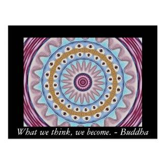 Visuellt hjälpmedelböndesign med buddistiskt vykort
