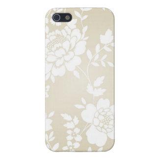 Vit beige blom- fodral för henne iPhone 5 skal