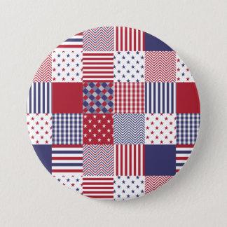 Vit & blått USA för Americana Patchwork röd Mellanstor Knapp Rund 7.6 Cm