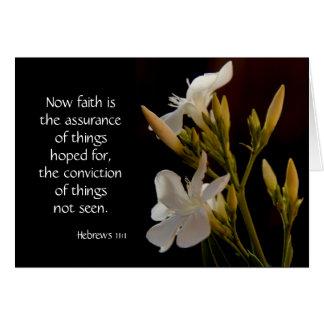Vit blommar, bibelversen (hebréer) på trohopp hälsningskort