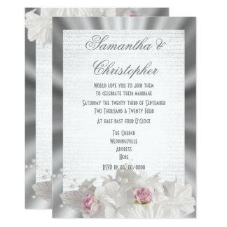 Vit blommar rosa ros på silvergrå färgbröllop 12,7 x 17,8 cm inbjudningskort
