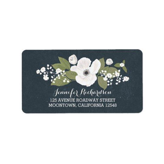 vit blommar vintage bröllopadressetiketter adressetikett