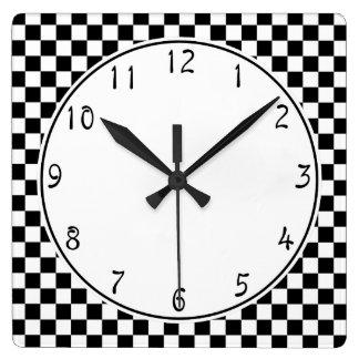 Vit cirklar det svart schackbrädemönster fyrkantig klocka