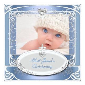 Vit för blått för pojkeChristeningdop Fyrkantigt 13,3 Cm Inbjudningskort