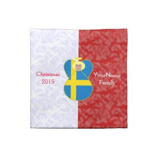 Vit för blont hår för svenskflaggaängel röd tygservett