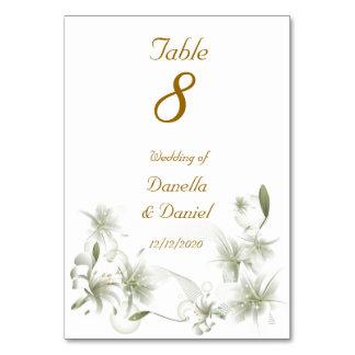 Vit för bröllopbordsnummerbröllop blommar blommigt bordsnummer