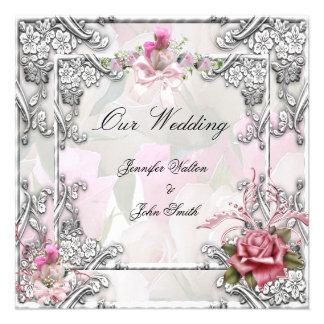 Vit för elegant brölloprosa rossilver inbjudan